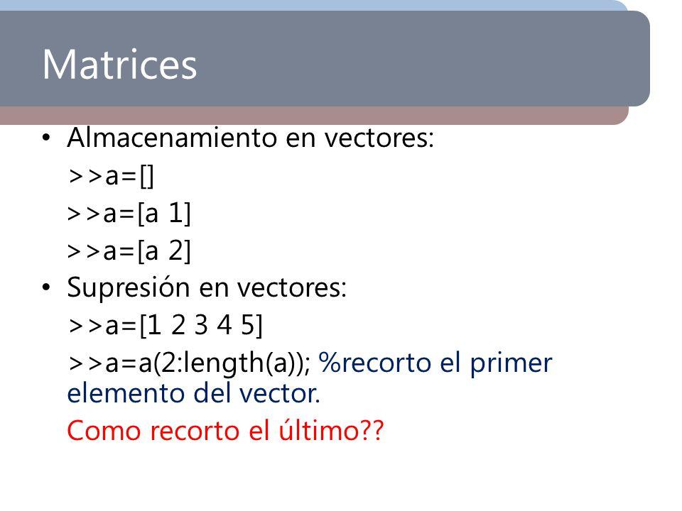 Matrices Almacenamiento en vectores: >>a=[] >>a=[a 1] >>a=[a 2] Supresión en vectores: >>a=[1 2 3 4 5] >>a=a(2:length(a)); %recorto el primer elemento
