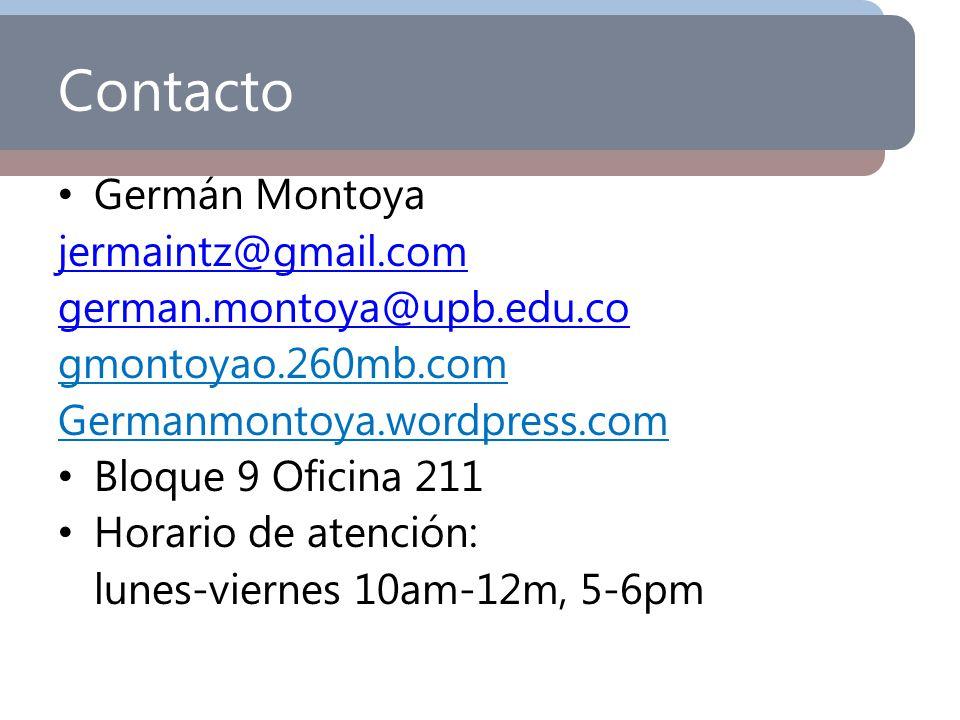 Contacto Germán Montoya jermaintz@gmail.com german.montoya@upb.edu.co gmontoyao.260mb.com Germanmontoya.wordpress.com Bloque 9 Oficina 211 Horario de