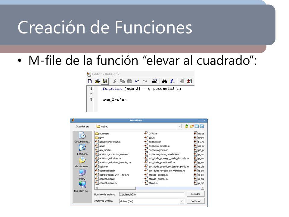 Creación de Funciones M-file de la función elevar al cuadrado: