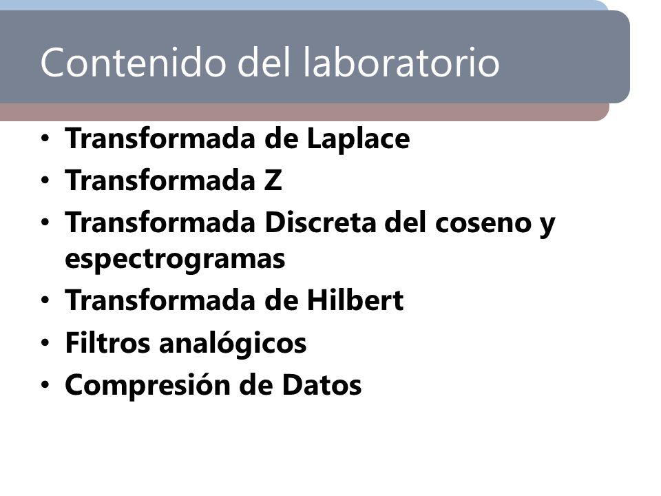 Contenido del laboratorio Transformada de Laplace Transformada Z Transformada Discreta del coseno y espectrogramas Transformada de Hilbert Filtros ana