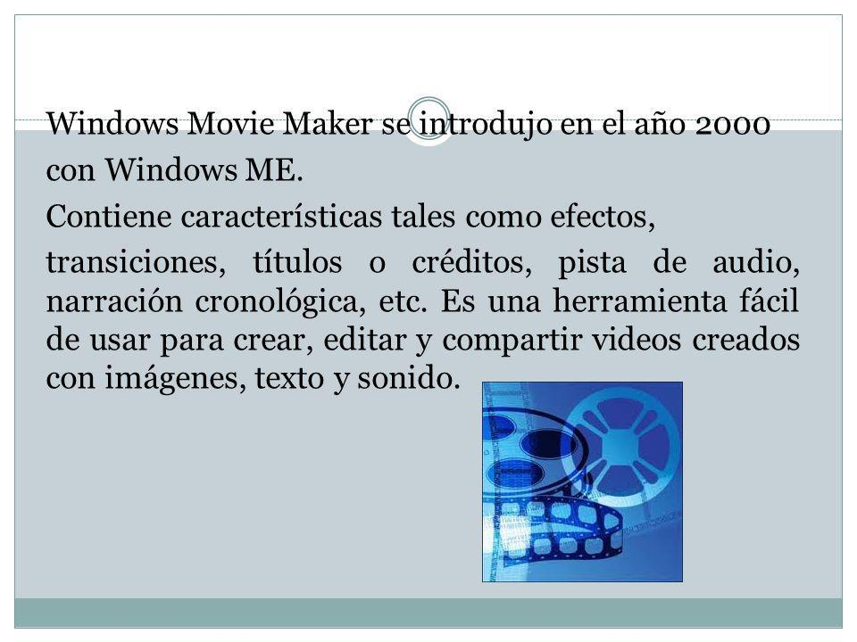 Windows Movie Maker se introdujo en el año 2000 con Windows ME. Contiene características tales como efectos, transiciones, títulos o créditos, pista d