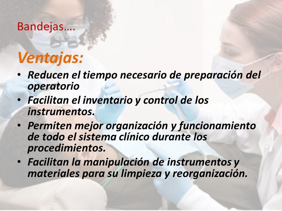 Bandejas…. Ventajas: Reducen el tiempo necesario de preparación del operatorio Facilitan el inventario y control de los instrumentos. Permiten mejor o