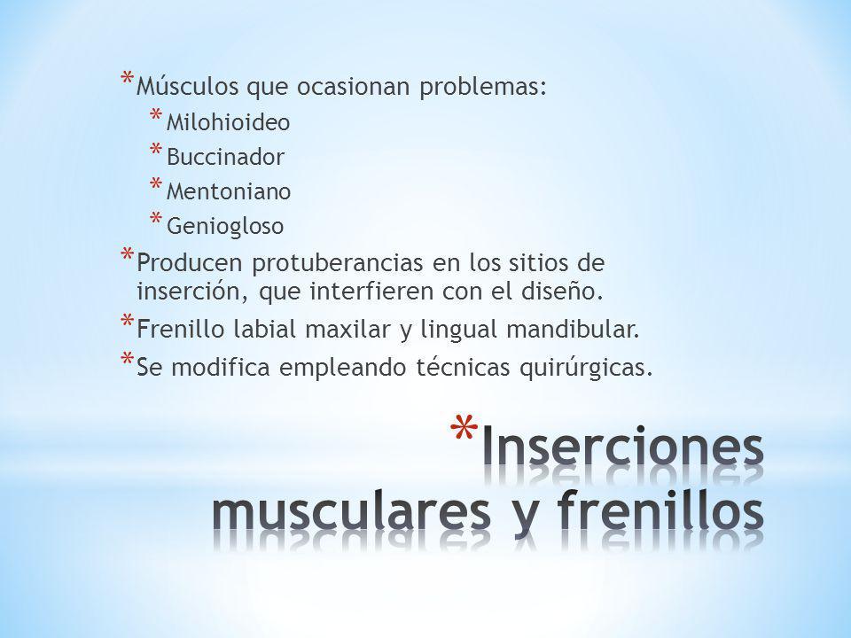 * Músculos que ocasionan problemas: * Milohioideo * Buccinador * Mentoniano * Geniogloso * Producen protuberancias en los sitios de inserción, que int
