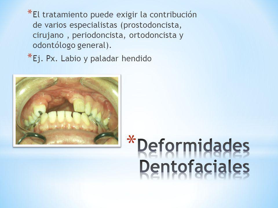 * El tratamiento puede exigir la contribución de varios especialistas (prostodoncista, cirujano, periodoncista, ortodoncista y odontólogo general). *