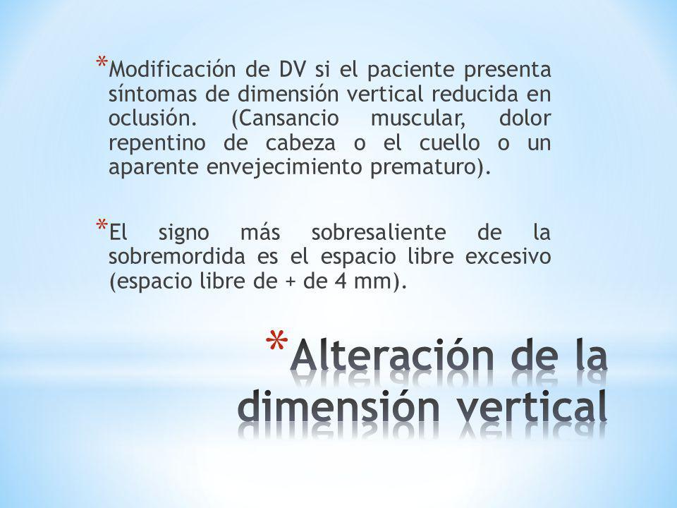* Modificación de DV si el paciente presenta síntomas de dimensión vertical reducida en oclusión. (Cansancio muscular, dolor repentino de cabeza o el