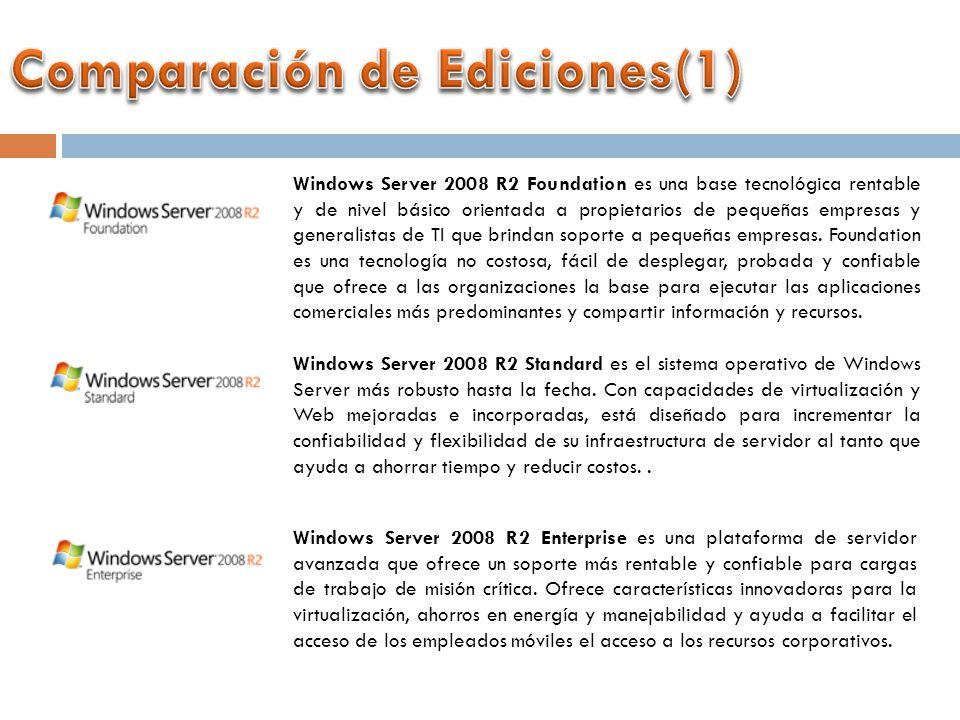 Windows Server 2008 R2 Foundation es una base tecnológica rentable y de nivel básico orientada a propietarios de pequeñas empresas y generalistas de TI que brindan soporte a pequeñas empresas.