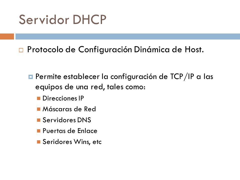 Servidor DHCP Protocolo de Configuración Dinámica de Host.