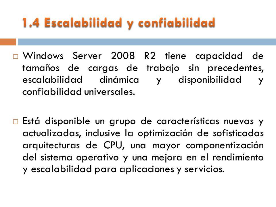 Windows Server 2008 R2 tiene capacidad de tamaños de cargas de trabajo sin precedentes, escalabilidad dinámica y disponibilidad y confiabilidad universales.