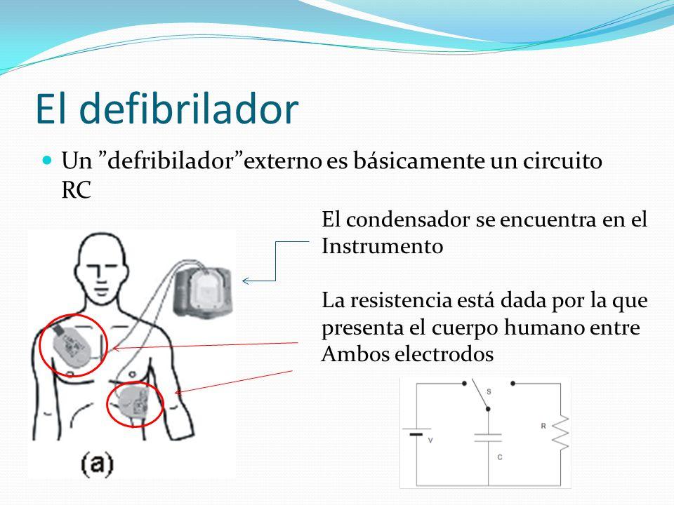 El defibrilador Un defribiladorexterno es básicamente un circuito RC El condensador se encuentra en el Instrumento La resistencia está dada por la que