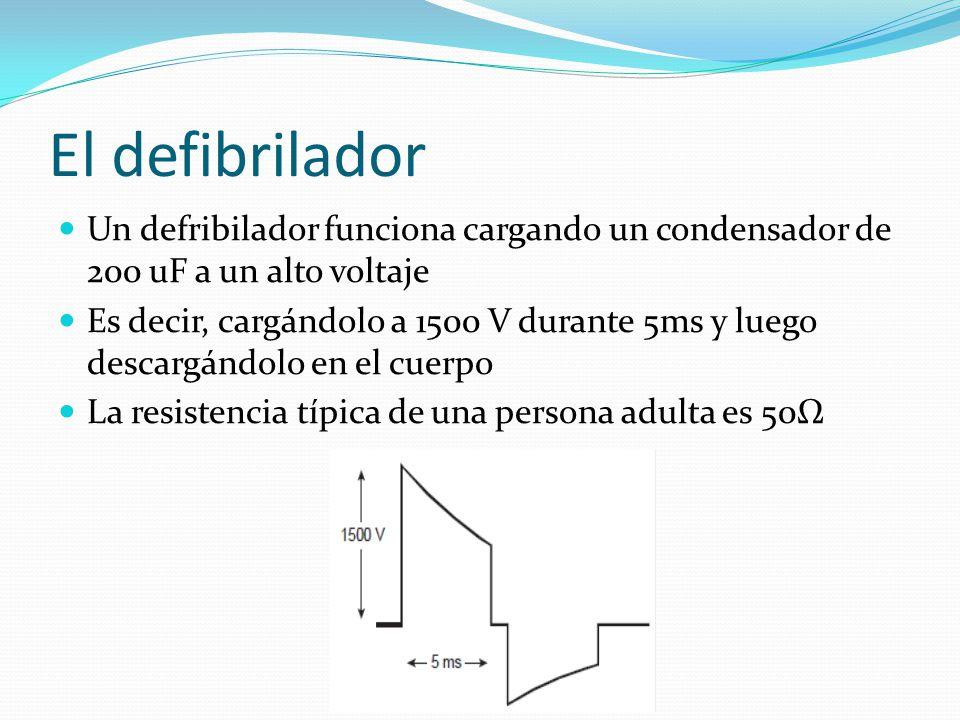 El defibrilador Un defribilador funciona cargando un condensador de 200 uF a un alto voltaje Es decir, cargándolo a 1500 V durante 5ms y luego descarg