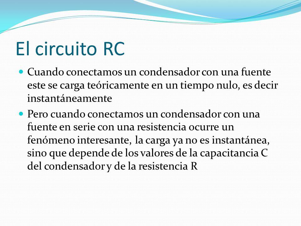 El circuito RC Cuando conectamos un condensador con una fuente este se carga teóricamente en un tiempo nulo, es decir instantáneamente Pero cuando con
