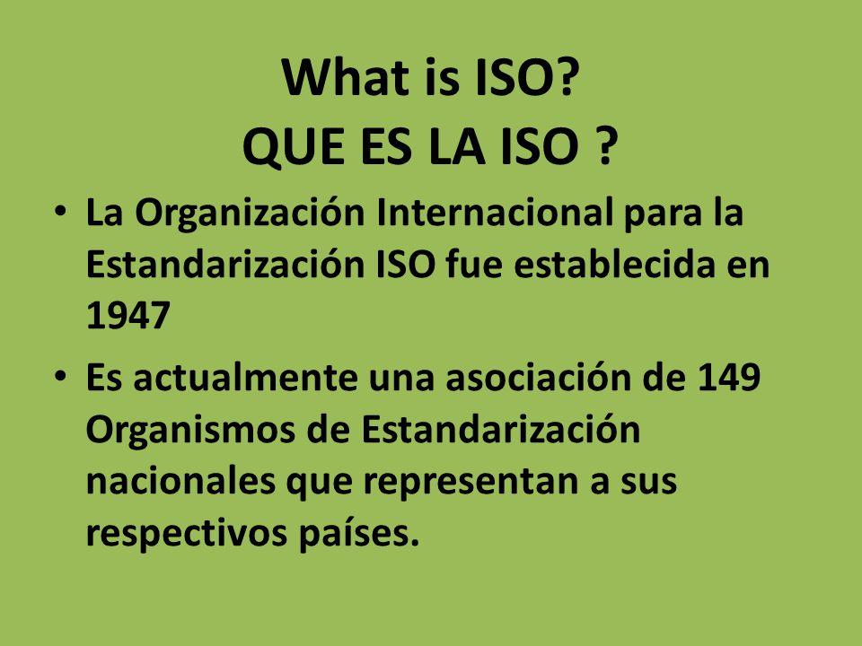 What is ISO? QUE ES LA ISO ? La Organización Internacional para la Estandarización ISO fue establecida en 1947 Es actualmente una asociación de 149 Or