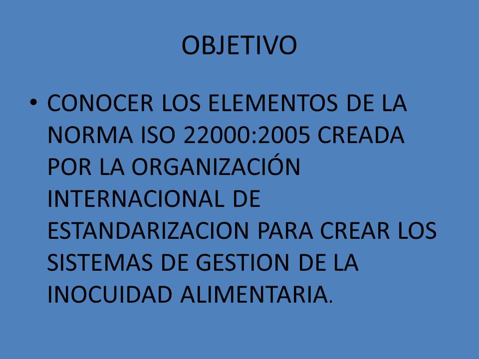 OBJETIVO CONOCER LOS ELEMENTOS DE LA NORMA ISO 22000:2005 CREADA POR LA ORGANIZACIÓN INTERNACIONAL DE ESTANDARIZACION PARA CREAR LOS SISTEMAS DE GESTI
