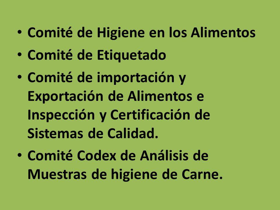 Comité de Higiene en los Alimentos Comité de Etiquetado Comité de importación y Exportación de Alimentos e Inspección y Certificación de Sistemas de C
