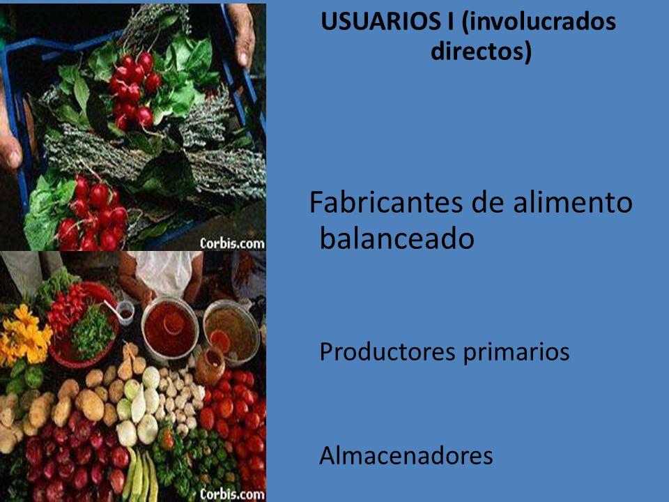 USUARIOS I (involucrados directos) Fabricantes de alimento balanceado Productores primarios Almacenadores