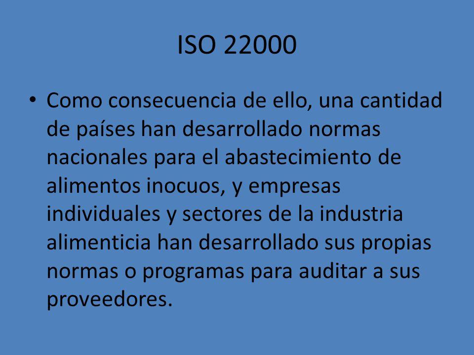 ISO 22000 Como consecuencia de ello, una cantidad de países han desarrollado normas nacionales para el abastecimiento de alimentos inocuos, y empresas