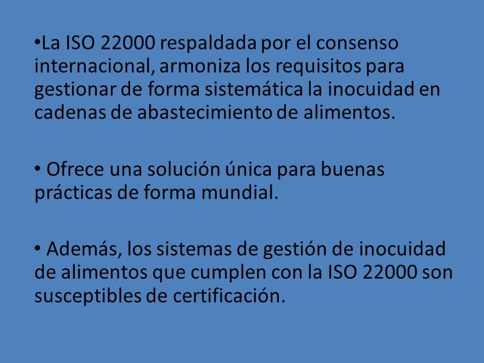La ISO 22000 respaldada por el consenso internacional, armoniza los requisitos para gestionar de forma sistemática la inocuidad en cadenas de abasteci