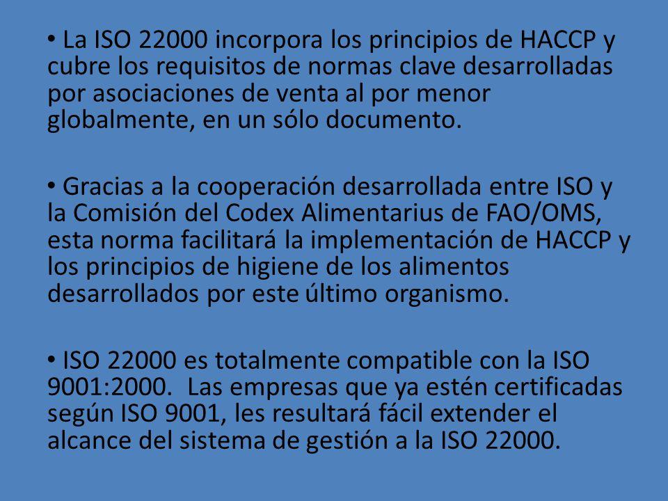 La ISO 22000 incorpora los principios de HACCP y cubre los requisitos de normas clave desarrolladas por asociaciones de venta al por menor globalmente