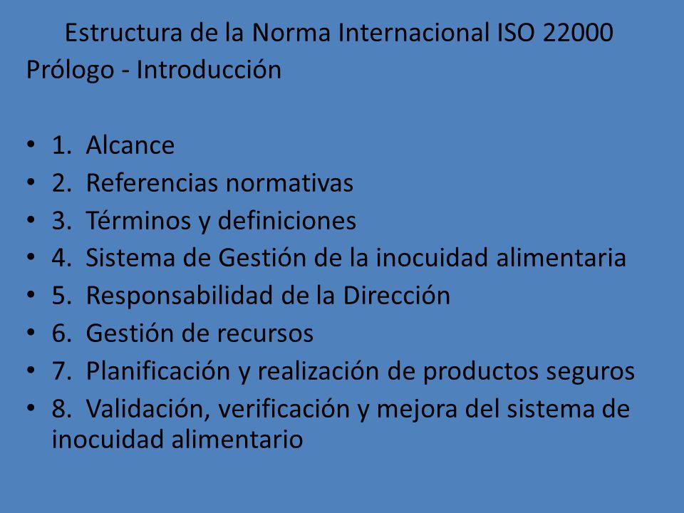 Estructura de la Norma Internacional ISO 22000 Prólogo - Introducción 1. Alcance 2. Referencias normativas 3. Términos y definiciones 4. Sistema de Ge