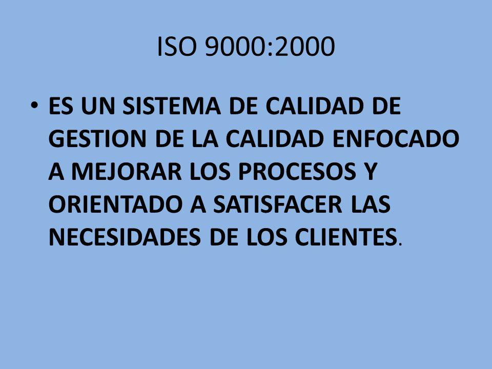 ISO 9000:2000 ES UN SISTEMA DE CALIDAD DE GESTION DE LA CALIDAD ENFOCADO A MEJORAR LOS PROCESOS Y ORIENTADO A SATISFACER LAS NECESIDADES DE LOS CLIENT