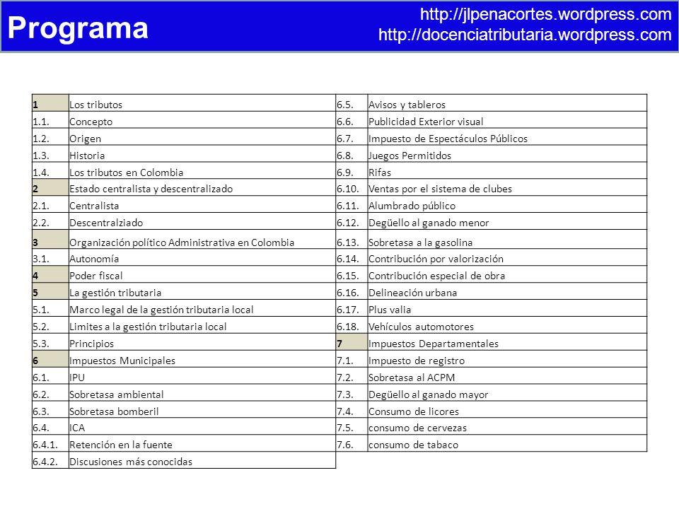 http://jlpenacortes.wordpress.com http://docenciatributaria.wordpress.com Programa 1Los tributos6.5.Avisos y tableros 1.1.Concepto6.6.Publicidad Exterior visual 1.2.Origen6.7.Impuesto de Espectáculos Públicos 1.3.Historia6.8.Juegos Permitidos 1.4.Los tributos en Colombia6.9.Rifas 2Estado centralista y descentralizado6.10.Ventas por el sistema de clubes 2.1.Centralista6.11.Alumbrado público 2.2.Descentralziado6.12.Degüello al ganado menor 3Organización político Administrativa en Colombia6.13.Sobretasa a la gasolina 3.1.Autonomía6.14.Contribución por valorización 4Poder fiscal6.15.Contribución especial de obra 5La gestión tributaria6.16.Delineación urbana 5.1.Marco legal de la gestión tributaria local6.17.Plus valia 5.2.Limites a la gestión tributaria local6.18.Vehículos automotores 5.3.Principios7Impuestos Departamentales 6Impuestos Municipales7.1.Impuesto de registro 6.1.IPU7.2.Sobretasa al ACPM 6.2.Sobretasa ambiental7.3.Degüello al ganado mayor 6.3.Sobretasa bomberil7.4.Consumo de licores 6.4.ICA7.5.consumo de cervezas 6.4.1.Retención en la fuente7.6.consumo de tabaco 6.4.2.Discusiones más conocidas