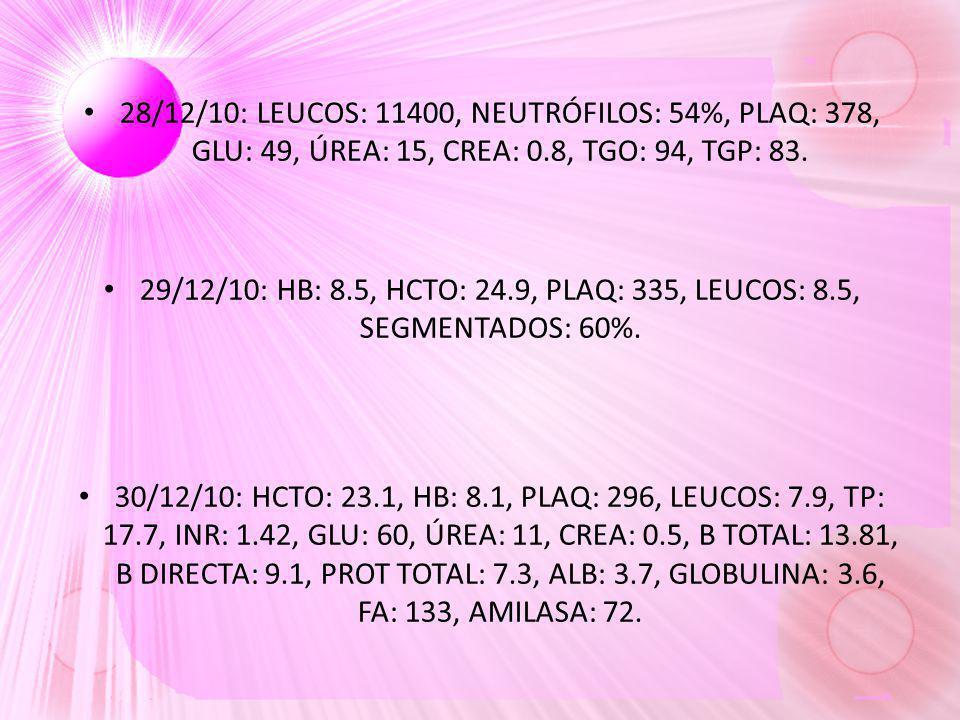 28/12/10: LEUCOS: 11400, NEUTRÓFILOS: 54%, PLAQ: 378, GLU: 49, ÚREA: 15, CREA: 0.8, TGO: 94, TGP: 83. 29/12/10: HB: 8.5, HCTO: 24.9, PLAQ: 335, LEUCOS