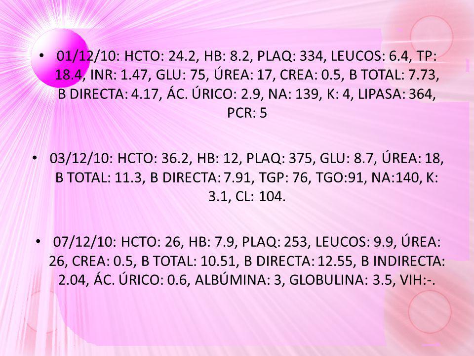 01/12/10: HCTO: 24.2, HB: 8.2, PLAQ: 334, LEUCOS: 6.4, TP: 18.4, INR: 1.47, GLU: 75, ÚREA: 17, CREA: 0.5, B TOTAL: 7.73, B DIRECTA: 4.17, ÁC. ÚRICO: 2