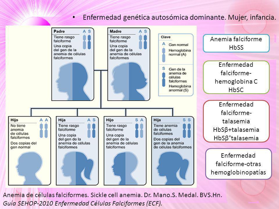 Enfermedad genética autosómica dominante. Mujer, infancia. Anemia de células falciformes. Sickle cell anemia. Dr. Mano.S. Medal. BVS.Hn. Guía SEHOP-20