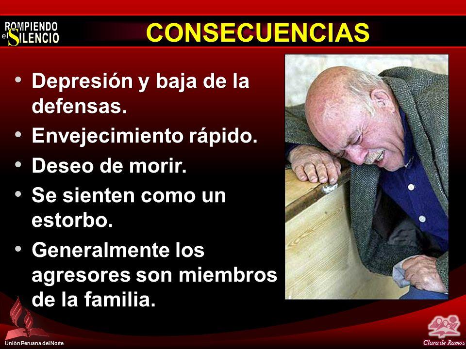 Unión Peruana del Norte CONSECUENCIASCONSECUENCIAS Depresión y baja de la defensas. Depresión y baja de la defensas. Envejecimiento rápido. Envejecimi