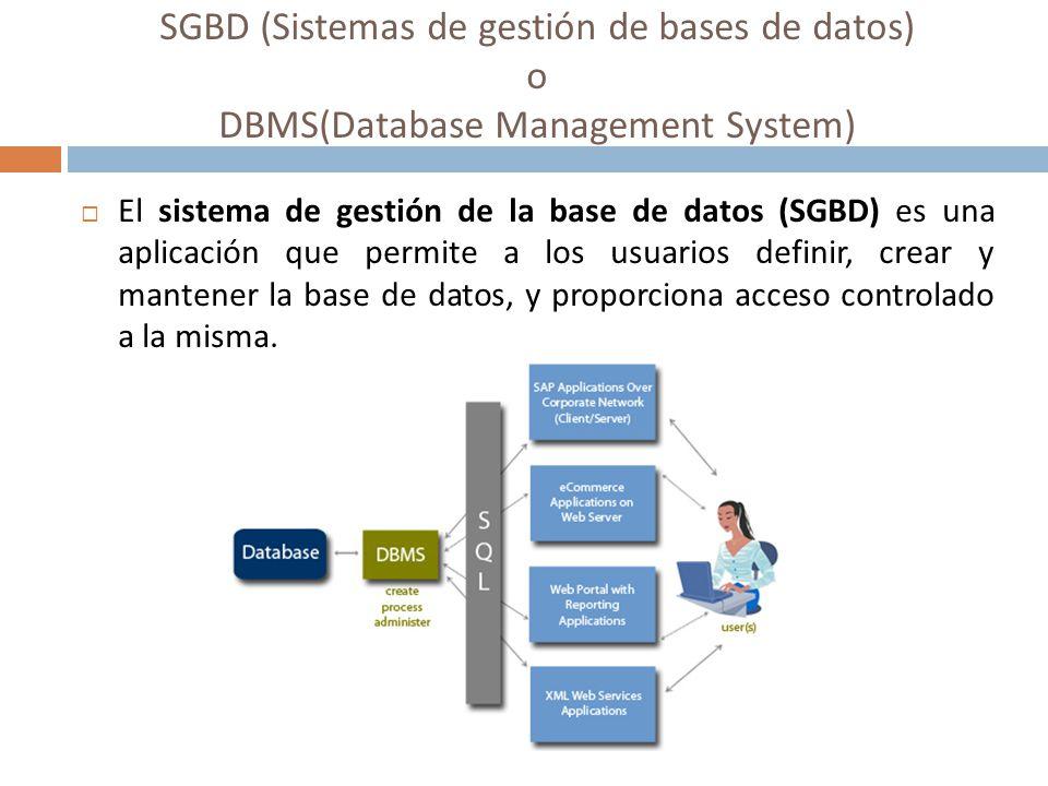 SGBD (Sistemas de gestión de bases de datos) o DBMS(Database Management System) El sistema de gestión de la base de datos (SGBD) es una aplicación que
