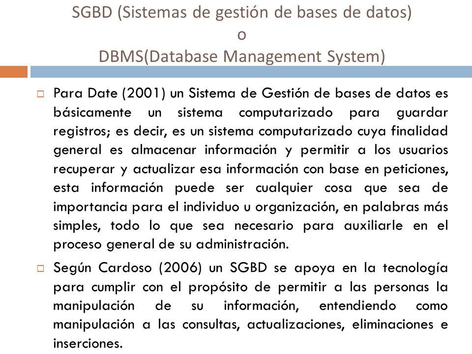 SGBD (Sistemas de gestión de bases de datos) o DBMS(Database Management System) Para Date (2001) un Sistema de Gestión de bases de datos es básicament
