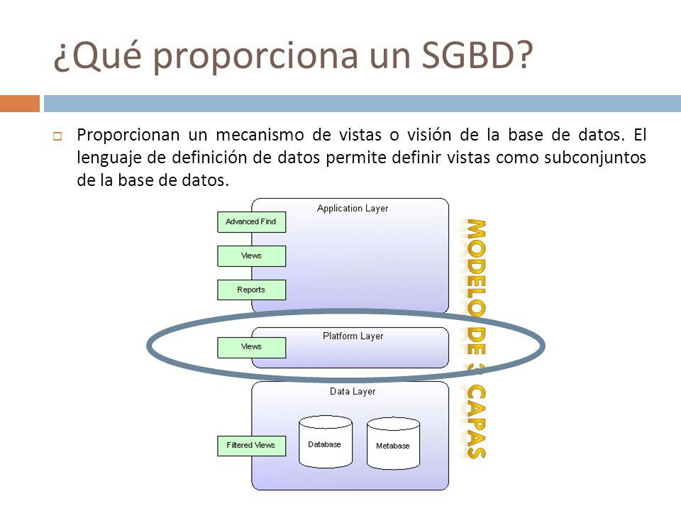 ¿Qué proporciona un SGBD? Proporcionan un mecanismo de vistas o visión de la base de datos. El lenguaje de definición de datos permite definir vistas