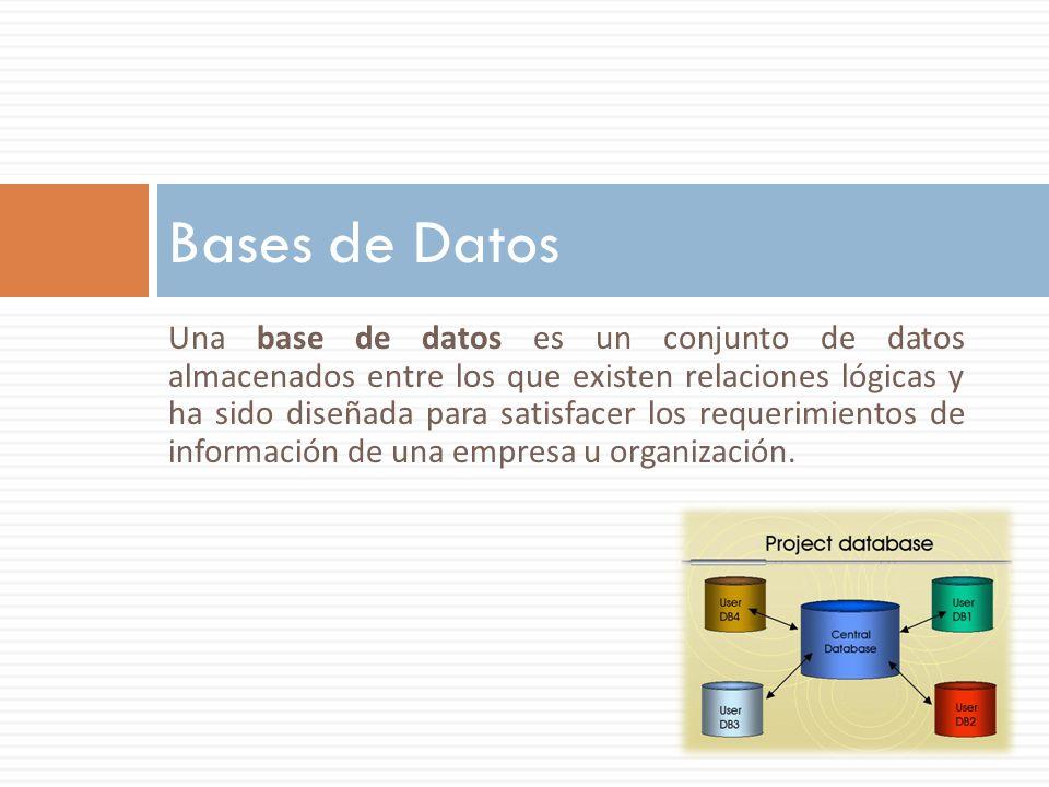 Bases de Datos Una base de datos es un conjunto de datos almacenados entre los que existen relaciones lógicas y ha sido diseñada para satisfacer los r