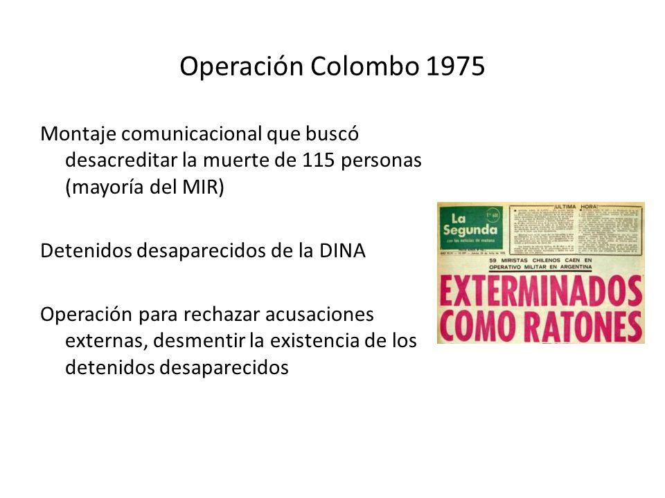 Operación Colombo 1975 Montaje comunicacional que buscó desacreditar la muerte de 115 personas (mayoría del MIR) Detenidos desaparecidos de la DINA Op