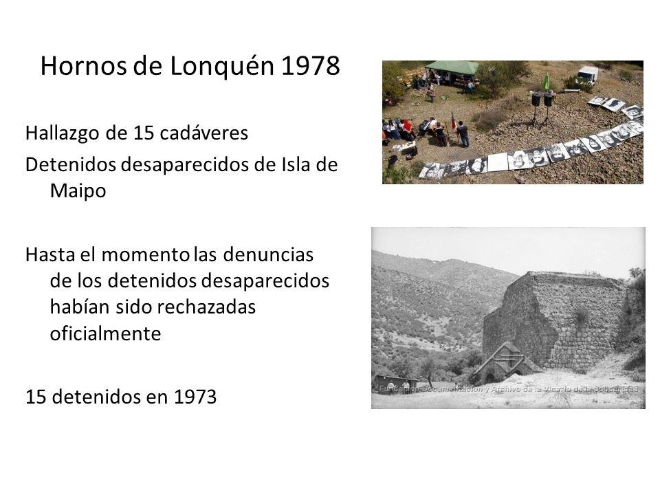 Hornos de Lonquén 1978 Hallazgo de 15 cadáveres Detenidos desaparecidos de Isla de Maipo Hasta el momento las denuncias de los detenidos desaparecidos