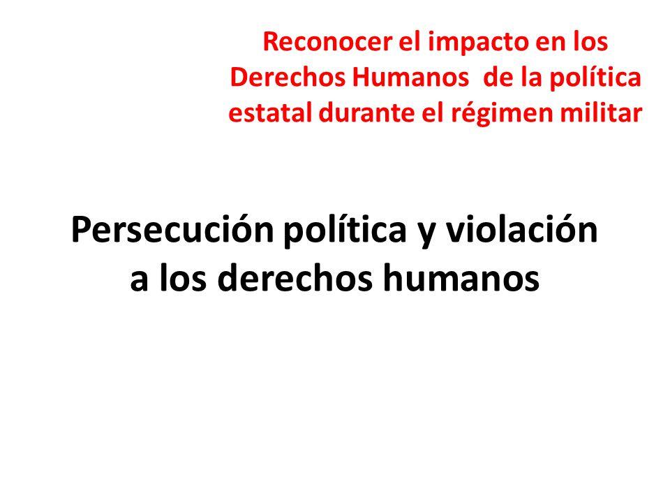Persecución política y violación a los derechos humanos Reconocer el impacto en los Derechos Humanos de la política estatal durante el régimen militar