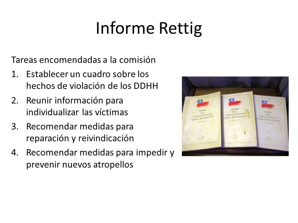 Informe Rettig Tareas encomendadas a la comisión 1.Establecer un cuadro sobre los hechos de violación de los DDHH 2.Reunir información para individual