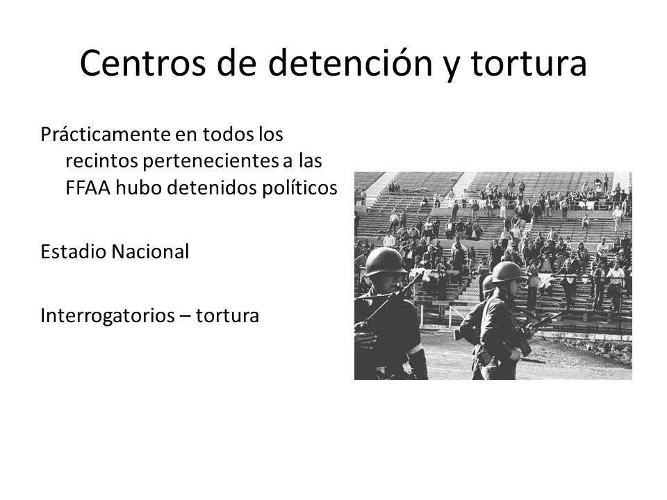 Centros de detención y tortura Prácticamente en todos los recintos pertenecientes a las FFAA hubo detenidos políticos Estadio Nacional Interrogatorios