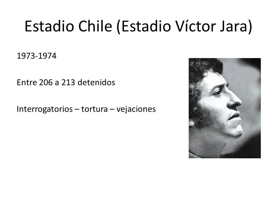 Estadio Chile (Estadio Víctor Jara) 1973-1974 Entre 206 a 213 detenidos Interrogatorios – tortura – vejaciones