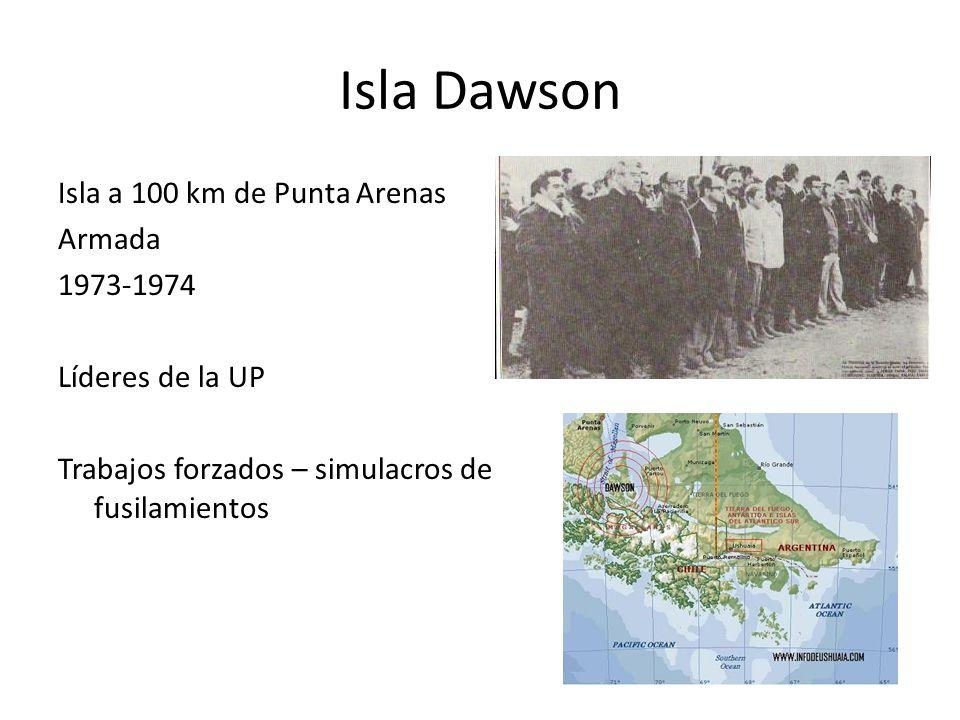 Isla Dawson Isla a 100 km de Punta Arenas Armada 1973-1974 Líderes de la UP Trabajos forzados – simulacros de fusilamientos