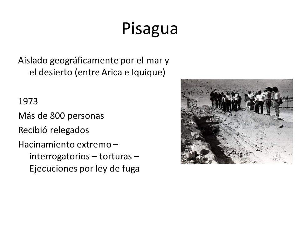 Pisagua Aislado geográficamente por el mar y el desierto (entre Arica e Iquique) 1973 Más de 800 personas Recibió relegados Hacinamiento extremo – int