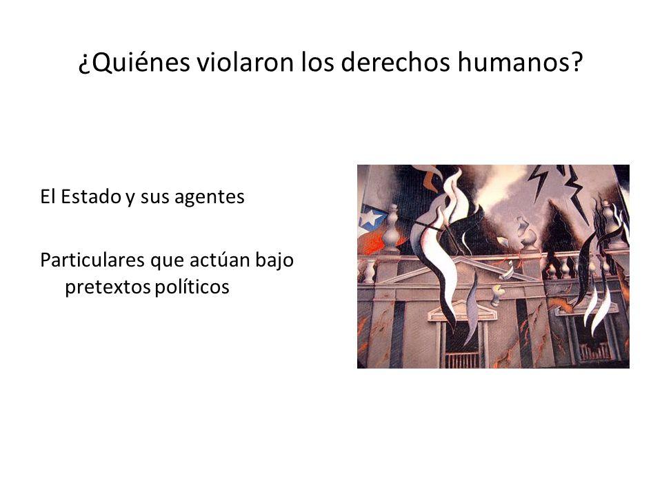 ¿Quiénes violaron los derechos humanos? El Estado y sus agentes Particulares que actúan bajo pretextos políticos