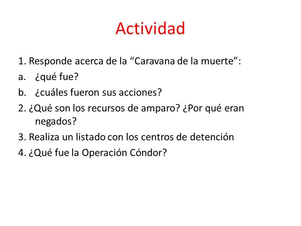 Actividad 1. Responde acerca de la Caravana de la muerte: a.¿qué fue? b.¿cuáles fueron sus acciones? 2. ¿Qué son los recursos de amparo? ¿Por qué eran