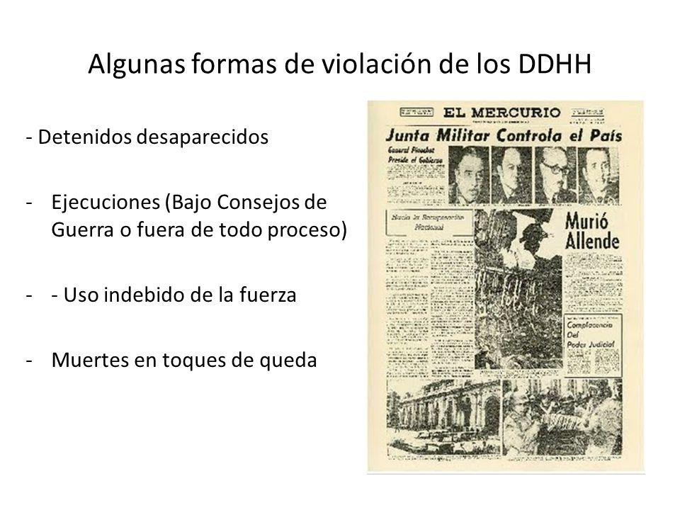 Algunas formas de violación de los DDHH - Detenidos desaparecidos -Ejecuciones (Bajo Consejos de Guerra o fuera de todo proceso) -- Uso indebido de la