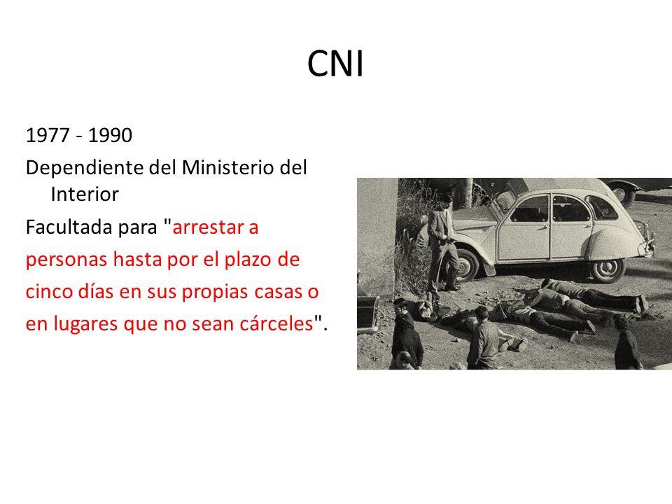 CNI 1977 - 1990 Dependiente del Ministerio del Interior Facultada para