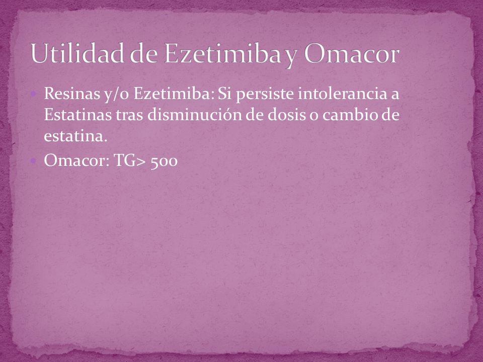 Resinas y/0 Ezetimiba: Si persiste intolerancia a Estatinas tras disminución de dosis o cambio de estatina. Omacor: TG> 500