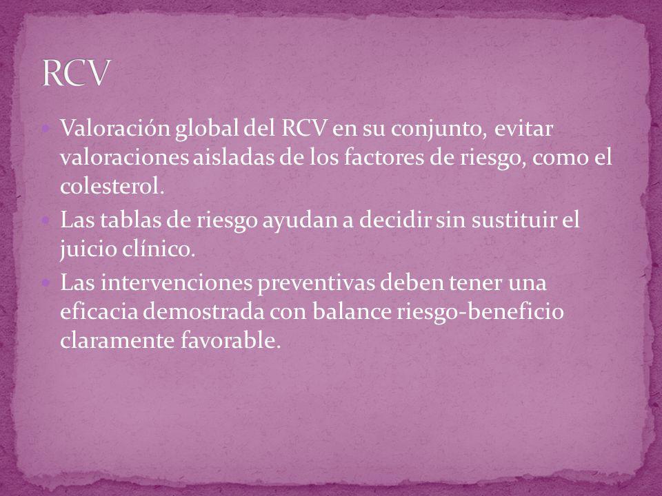 Valoración global del RCV en su conjunto, evitar valoraciones aisladas de los factores de riesgo, como el colesterol. Las tablas de riesgo ayudan a de