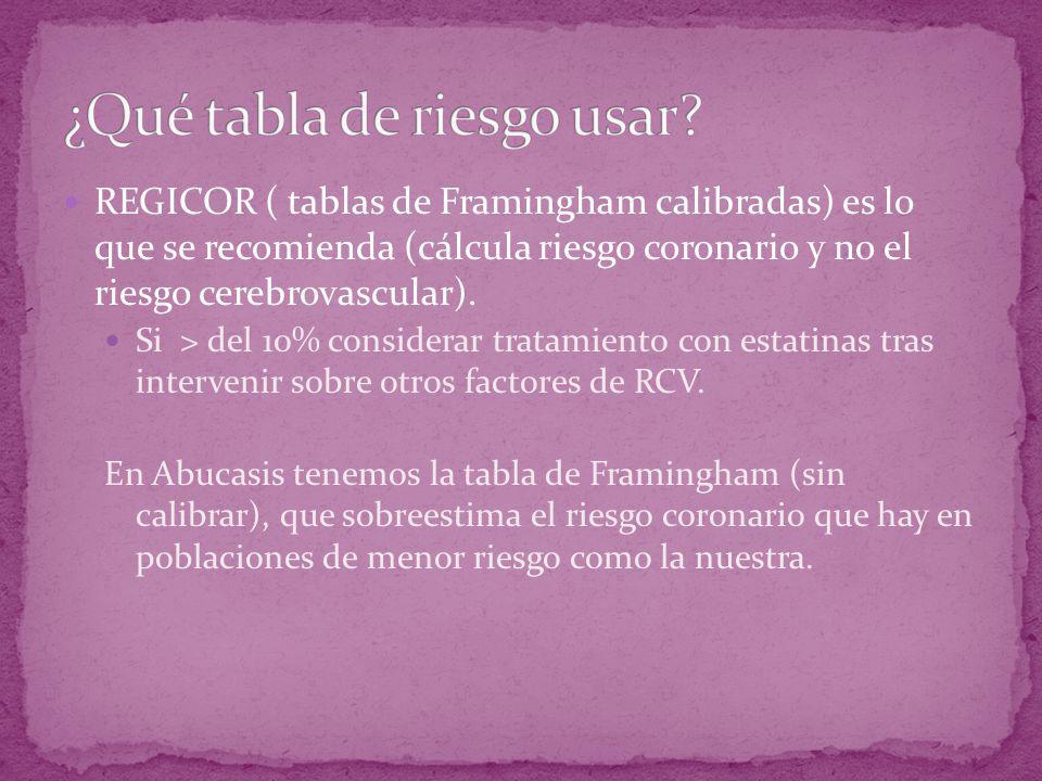 REGICOR ( tablas de Framingham calibradas) es lo que se recomienda (cálcula riesgo coronario y no el riesgo cerebrovascular). Si > del 10% considerar