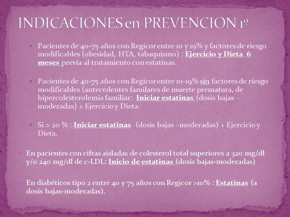 Pacientes de 40-75 años con Regicor entre 10 y 19% y factores de riesgo modificables (obesidad, HTA, tabaquismo) : Ejercicio y Dieta 6 meses previa al