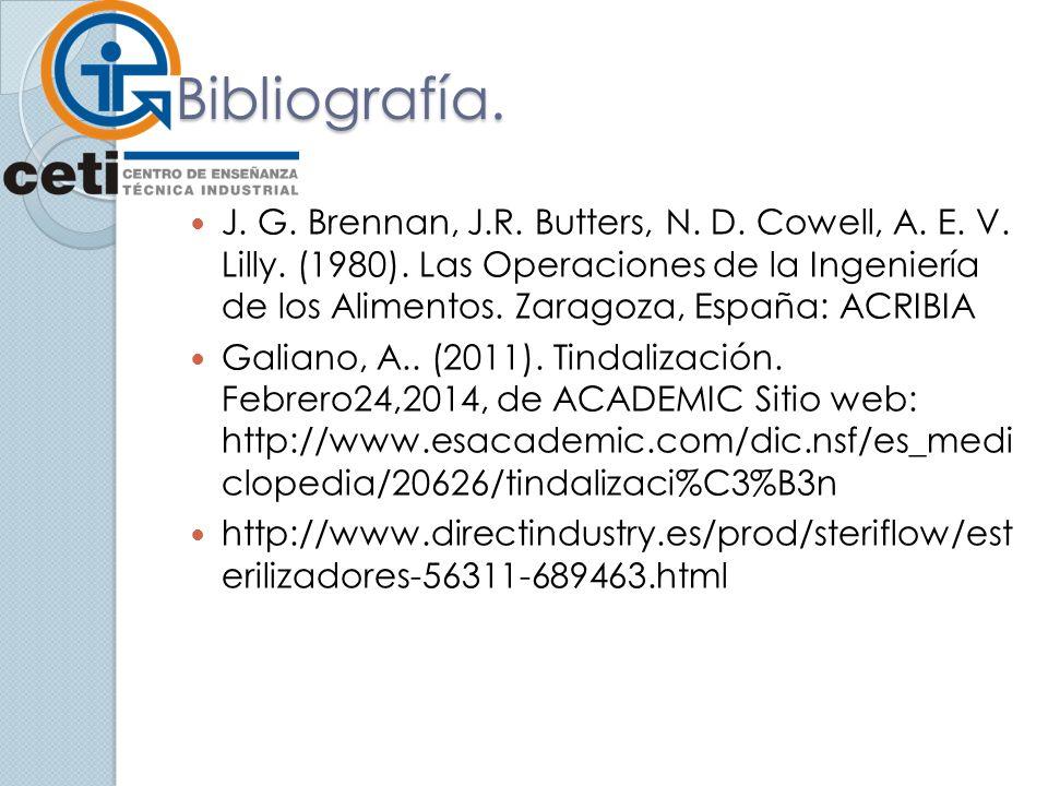 Bibliografía. J. G. Brennan, J.R. Butters, N. D. Cowell, A. E. V. Lilly. (1980). Las Operaciones de la Ingeniería de los Alimentos. Zaragoza, España: